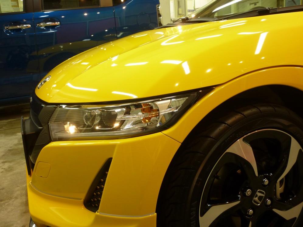 S660ガラスコーティングで光るヘッドライト
